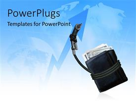 PowerPlugs: PowerPoint template with a bundle of notes in a purse with map in the background
