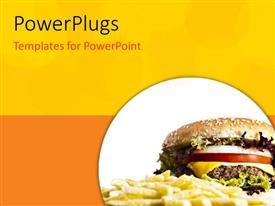 PowerPoint template displaying burger and chips in a white circular tile on yellow background