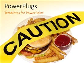 PowerPoint template displaying a burger and fries not in a healthy form