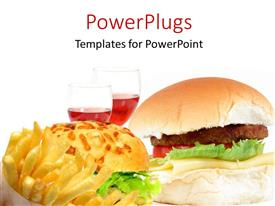 PowerPoint template displaying a burger with a lot of fries and wine
