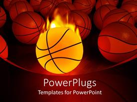 PowerPlugs: PowerPoint template with burning basketball ball and multiple basketballs on red background