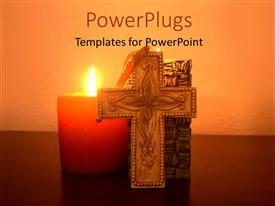 PowerPlugs: PowerPoint template with burning candle with cross and holy book in background