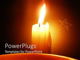 PowerPoint template displaying burning candle in front of etched star