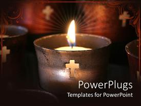 PowerPlugs: PowerPoint template with burning candle in old prayer candle with cut cross