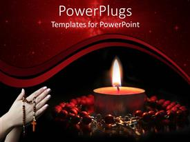 PowerPoint template displaying burning candle surrounded by red rosary and woman hands in prayer holding rosary on red and black background