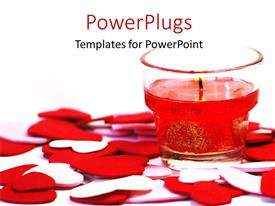 PowerPoint template displaying burning candle in transparent candle holder with red and white heart shapes