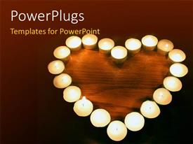 PowerPoint template displaying burning candles arranged in heart shape on wooden surface