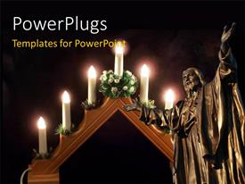 PowerPlugs: PowerPoint template with burning candles with statue of Jesus in cathedral