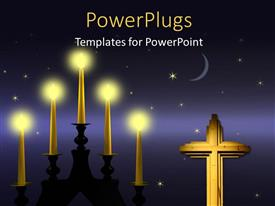 PowerPoint template displaying burning candles and wooden cross with stars and crescent moon