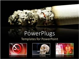 PowerPoint template displaying burning cigarette with three displays of the dangers of smoking