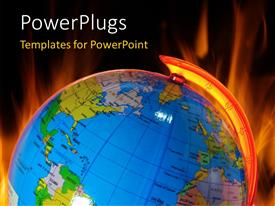PowerPlugs: PowerPoint template with burning globe, global warming concept