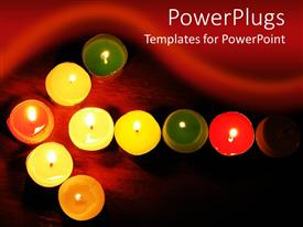 PowerPoint template displaying burning multicolored votive candles arranged in arrow on dark background