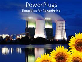 PowerPoint template displaying burning oil plants emitting heavy smoke with four sunflowers