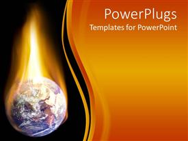 PowerPoint template displaying burning Planet Earth in flames on black background and gradient orange background on the right side