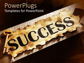 PowerPlugs: PowerPoint template with burnt piece of paper with success word on it and a golden key on its corner