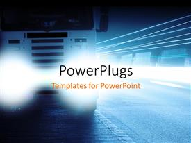 PowerPlugs: PowerPoint template with a bus with its headlights full on and road in the background