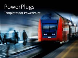 PowerPoint template displaying a bus moving fast on a rail with people at the side