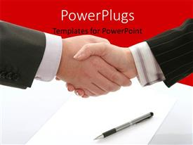PowerPlugs: PowerPoint template with business agreement with handshake over pen and document