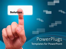 PowerPlugs: PowerPoint template with a business amn pointing on a solution tab