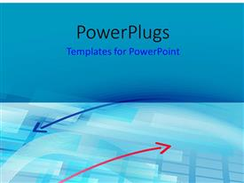 PowerPlugs: PowerPoint template with two pink and blue arrows on a blue background