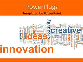 PowerPoint template displaying business background with keywords as innovation, idea, creative, corporate, process
