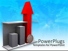 PowerPoint template displaying business chart with big red three dimensional arrow pointing upwards