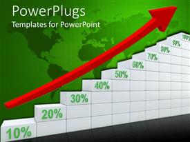 PowerPlugs: PowerPoint template with business chart with red arrow over world map in background