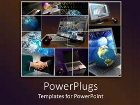 PowerPlugs: PowerPoint template with business IT collage with handshake, binary, globes, computers
