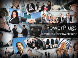 PowerPlugs: PowerPoint template with business collage with men and women, human resources, management