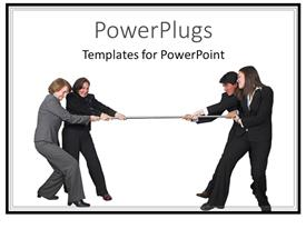 PowerPoint template displaying business competition metaphor with men and women playing tug of war