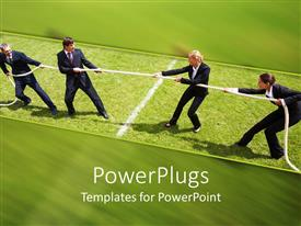 PowerPlugs: PowerPoint template with business competition metaphor with women and men playing tug of war, negotiations, gender relations,  business
