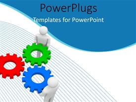 PowerPlugs: PowerPoint template with teamwork depiction with 3D men fitting cogwheels in each other