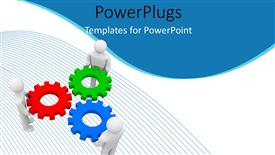 PowerPoint template displaying teamwork depiction with 3D men fitting cogwheels in each other