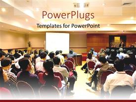 PowerPoint template displaying presentation business conference with people looking at slide show