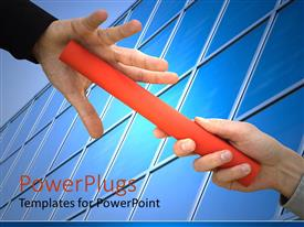 PowerPlugs: PowerPoint template with business continuity team work metaphor with one hand passing red baton to another in front of office windows