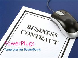 PowerPlugs: PowerPoint template with a business contract with a mouse and bluish background