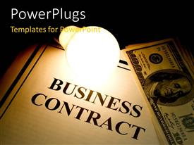 PowerPlugs: PowerPoint template with a business contract with a number of dollars at a side
