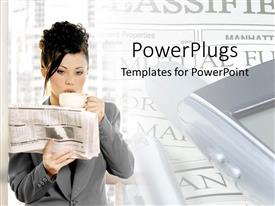 PowerPoint template displaying business corporate lady drinking coffee and reading a newspaper
