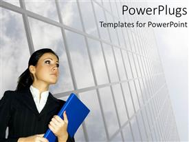 PowerPlugs: PowerPoint template with business corporate looking lady holding a blue file on a white background