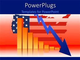 PowerPlugs: PowerPoint template with business Data Graph With US Map and  Decreasing Bar Chart with red color