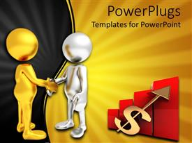 PowerPlugs: PowerPoint template with business deal metaphor with gold and silver people shaking hands, red bar graph, stock graph, dollar sign