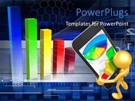 PowerPlugs: PowerPoint template with business depiction with 3D charts and man carrying large PDA