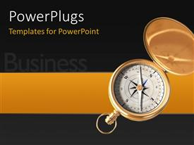 PowerPlugs: PowerPoint template with business depiction with open compass for direction over black background