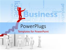 PowerPlugs: PowerPoint template with business depiction with red 3D man climbing arrow over financial chart