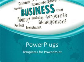PowerPlugs: PowerPoint template with business depiction with related terms over world map
