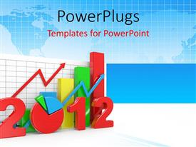 PowerPlugs: PowerPoint template with a colorful bar chart with a text that spells out '2012'