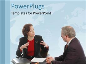 PowerPlugs: PowerPoint template with business discussion between two business people with world map in background