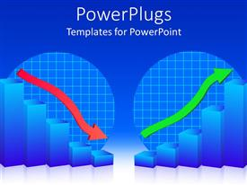 PowerPlugs: PowerPoint template with business failure and business success, graphic chart bars with red falling arrow and blue bars with green rising arrow on blue background