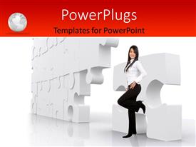PowerPlugs: PowerPoint template with business girl leaning on a puzzle with white color