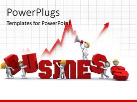 PowerPoint template displaying business graph with 3D people on yellow helmets building 3D business